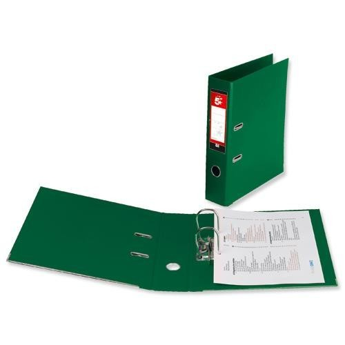 School Lever Arch File A4 Polypropylene Green [Pack 10]