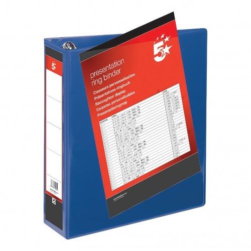 School 4-Ring Presentation Binder 65mm Spine A4 Polypropylene Blue [Pack 10]