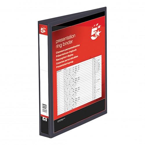 School 2-Ring Presentation Binder 25mm Spine A4 Polypropylene Black [Pack 10]