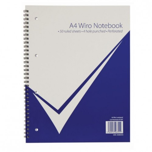 School Notebook Softback Wirebound A4 Ruled 4 Hole Punched Perforated [Pack 5]