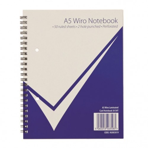 School Notebook Softback Wirebound A5 Ruled 2 Hole Punched Perforated [Pack 6]