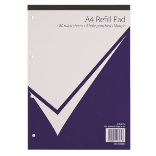 School Refill Pad Glued Headbound A4 Ruled/Margin 4 Hole Punched [Pack 10]