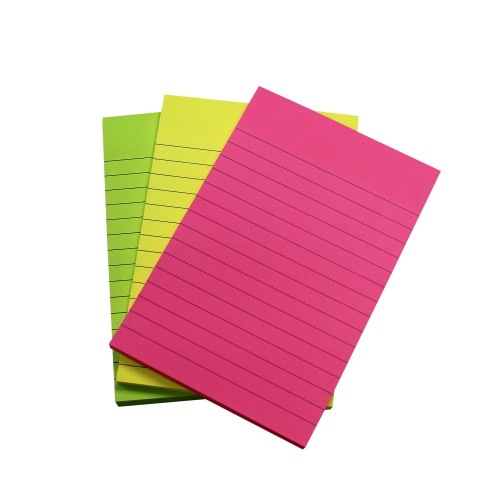 School Repositionable Notes Lined 100x150mm Assorted Neon [Pack 3]