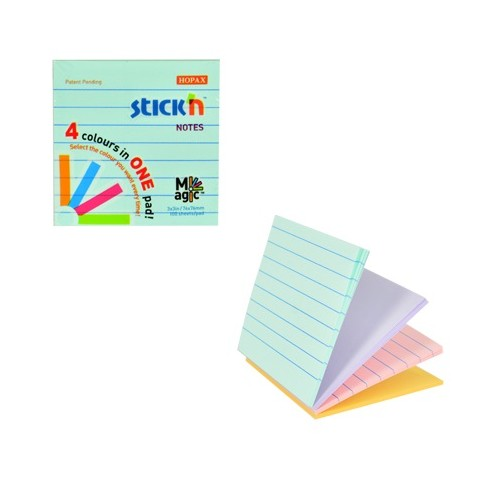 School Repositionable Notes Lined 76x76mm Assorted Pastel [Pack 12]