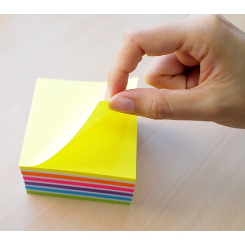 School Repositionable Note Cube 76x76mm Assorted Neon & Pastel [Pack 1]