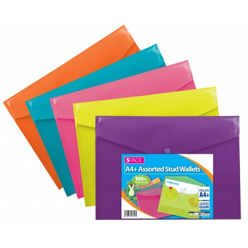 School Popper/Stud Wallets A4 Polypropylene Translucent Bright Assorted Colours [Pack 5]