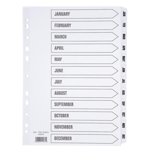 School Divider Multipunched White Card Jan-Dec A4 Mylar Index [Pack 1]