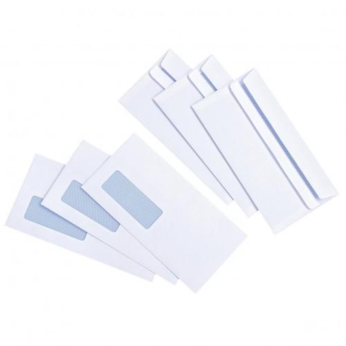 School Envelopes Press Seal Window 90gsm DL White [Pack 1000]