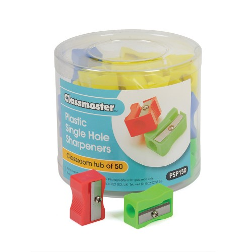 School Pencil Sharpener Plastic Single Hole [Pack 50]