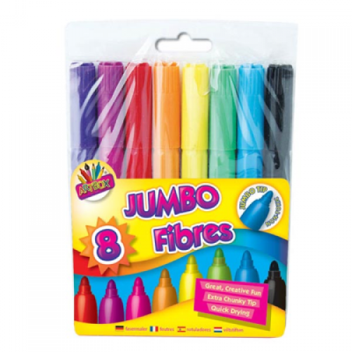 School Colouring Pens Jumbo Assorted [Pack 8]