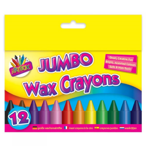 School Wax Crayons Jumbo Assorted [Pack 12]