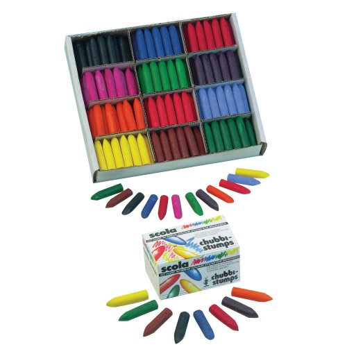 School Chubbi Wax Crayons 57x14mm Assorted [Pack 288]