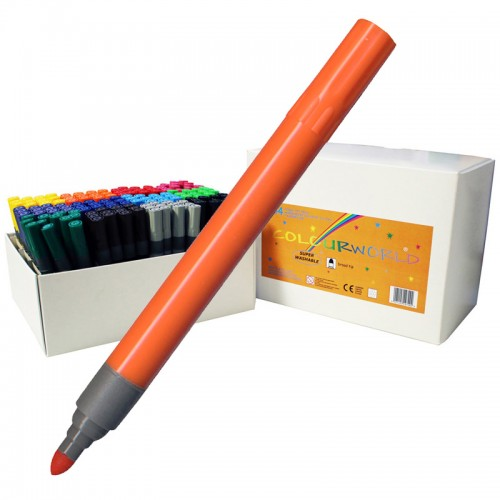 School Colouring Pens Broad 2mm Line Assorted [Pack 144]