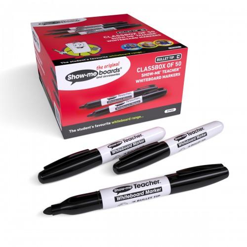 School Drywipe Pens Bullet Black Teacher [Pack 50]