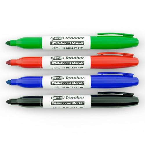 School Drywipe Pens Bullet Assorted Teacher [Pack 4]
