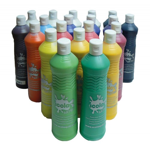 School Ready Mix High Quality Paint 600ml Assorted Colours [Pack 20]