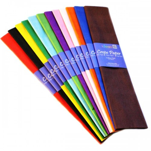 School Crepe Paper 500mmx3m Assorted Colours [Pack 12]