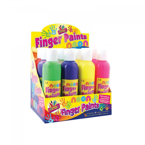 School Ready Mix Neon Finger Paint 200ml Assorted Colours [Pack 12]