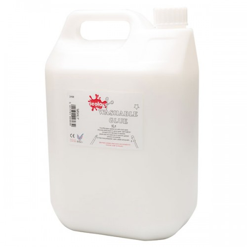 School Glue Washable White PVA 5 Litre [Pack 1]