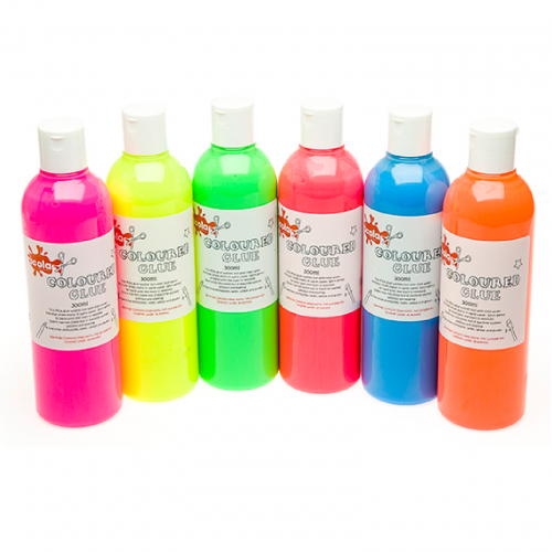 School Glue Washable Coloured PVA 300ml [Pack 6]