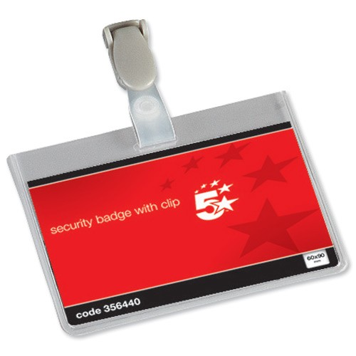 School Security Name Badges Landscape with Plastic Clip 60x90mm [Pack 25]