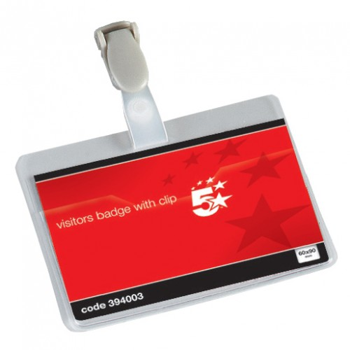 School Visitor Name Badges Landscape with Plastic Clip 60x90mm [Pack 25]
