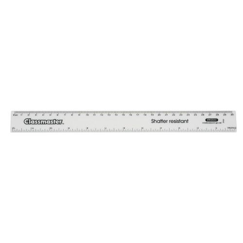 School Ruler Metric/Imperial Clear Shatter Resistant 30cm [Pack 100]