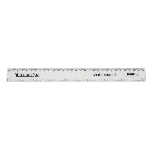 School Ruler Metric/Imperial White Shatter Resistant 30cm [Pack 100]