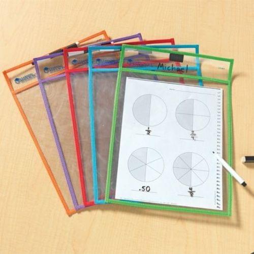 School Write & Wipe Pockets 250mm(w) x 350mm(h) [Pack 5]