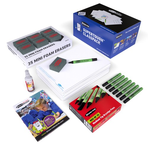 School Plain Supertough Drywipe Boards A4, Pens & Erasers [Pack 35]