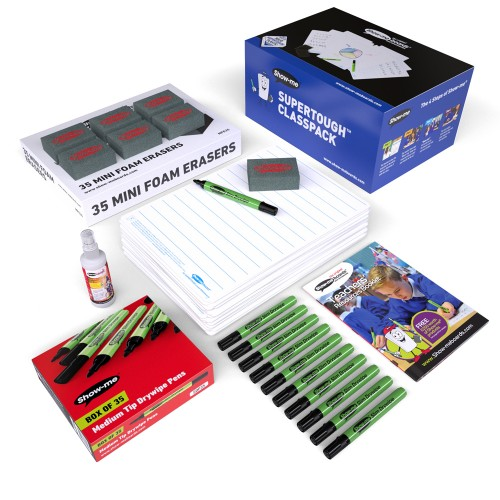 School Lined Supertough Drywipe Boards A4, Pens & Erasers [Pack 35]