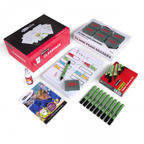 School Gridded Drywipe Boards A4, Pens & Erasers [Pack 35]