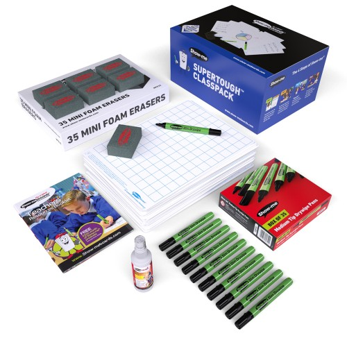 School Gridded Supertough Drywipe Boards A4, Pens & Erasers [Pack 35]