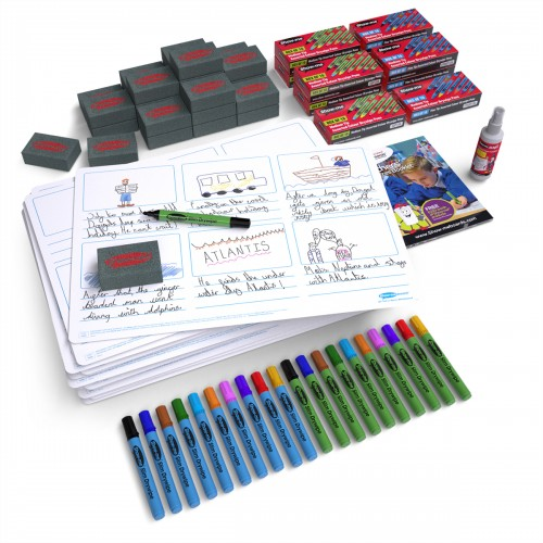 School Tell-a-story Drywipe Boards A3 x 25, Pens x 100 & Erasers x 25 [Pack 1]