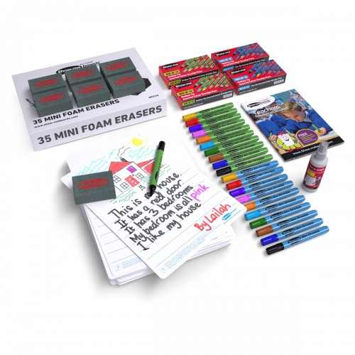 School Picture/Story Drywipe Boards A4 x 35, Pens x 40 & Erasers x 35 [Pack 1]