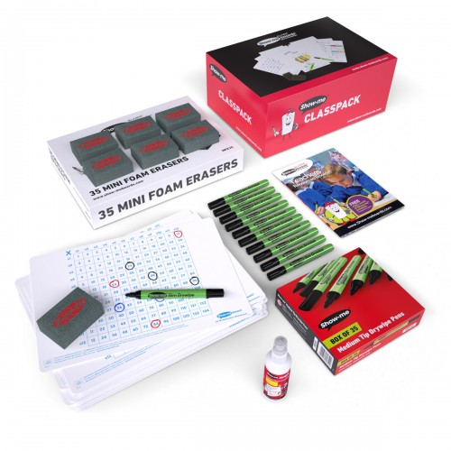 School Multiplication Gridded Drywipe Boards A4, Pens & Erasers [Pack 35]