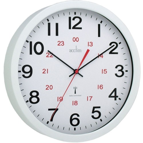 School Wall Clock 30cm Radio Controlled Metal Case/Glass Lens [Pack 1]