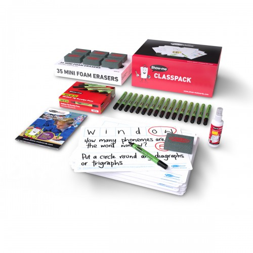 School 6 Frame Phonics Drywipe Boards A4, Pens & Erasers [Pack 35]