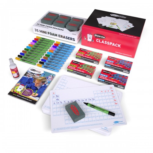 School Periodic Table Drywipe Boards A4, Pens & Erasers [Pack 35]