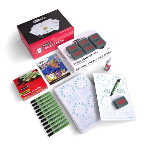 School Telling-the-time 4 Panel Clock Drywipe Boards A4, Pens & Erasers [Pack 35]