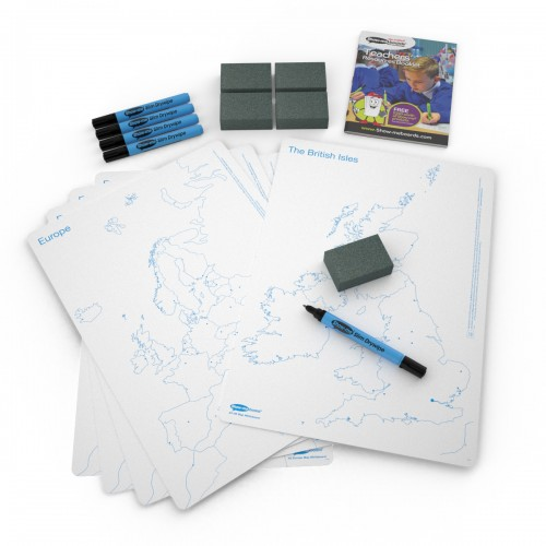 School Map UK/Europe Drywipe Boards A3, Pens & Erasers [Pack 5]