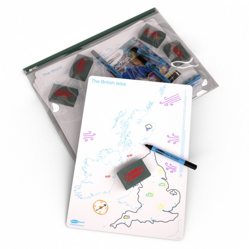 School Map UK/World Drywipe Boards A3, Pens & Erasers [Pack 5]