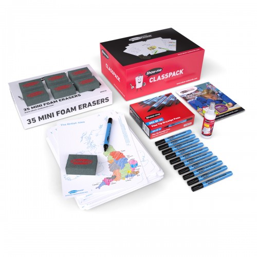 School Map UK Drywipe Boards A4, Pens & Erasers [Pack 35]