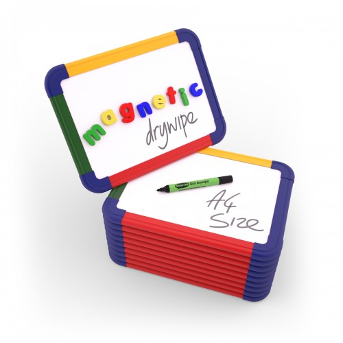 School Plain/Plain Magnetic Drywipe Boards A4 Rigid Coloured Frame [Pack 10]