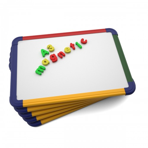 School Gridded/Plain Magnetic Drywipe Boards A3 Rigid Coloured Frame [Pack 5]