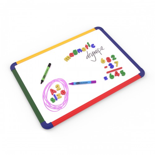 School Gridded/Plain Magnetic Drywipe Boards 600x450mm A2 Rigid Coloured Frame [Pack 1]
