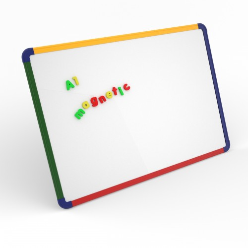 School Gridded/Plain Magnetic Drywipe Boards 900x600mm A1 Rigid Coloured Frame [Pack 1]