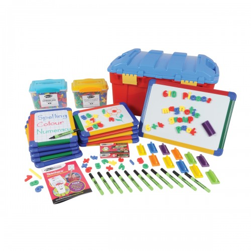 School Multi-curricular Pack Magnetic Drywipe Boards A4 x 10/A3 x 1, Pens/Erasers x 12, Letters x 286, Numbers x 286 [Pack 1]