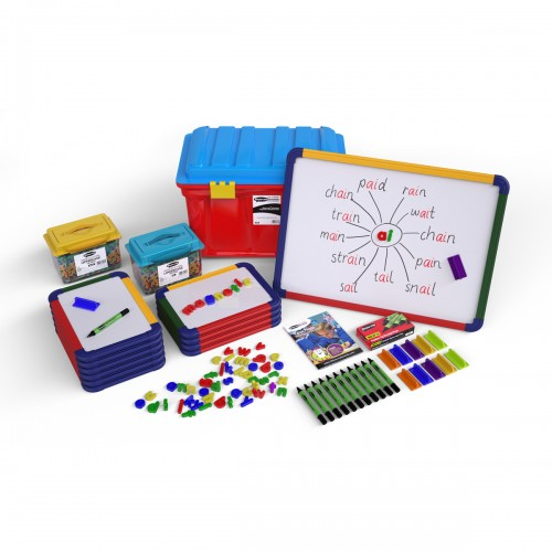 School Literacy Pack Magnetic Drywipe Boards A4 x 10/A3 x 1, Pens/Erasers x 12, Letters x 572 [Pack 1]