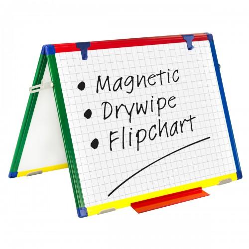 School Gridded/Plain Magnetic Drywipe Easel 600x450mm A2 Rigid Coloured Frame [Pack 1]